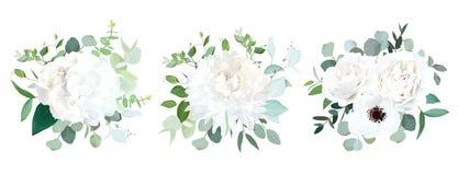Ανθοδέσμες σχεδίου γαμήλιων άσπρες λουλουδιών διανυσματικές διανυσματική απεικόνιση