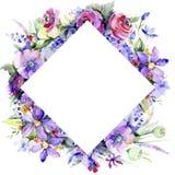 ανθοδέσμη ζωηρόχρωμη Floral βοτανικό λουλούδι Τετράγωνο διακοσμήσεων συνόρων πλαισίων στοκ φωτογραφία με δικαίωμα ελεύθερης χρήσης