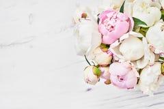 Ανθοδέσμη ρόδινου και άσπρου peony τα λουλούδια εμβλημάτων ανασκόπησης διαμορφώνουν λίγη ρόδινη σπείρα Τοπ άποψη, γ Στοκ εικόνες με δικαίωμα ελεύθερης χρήσης