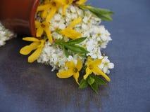 Ανθοδέσμη των άσπρων και κίτρινων λουλουδιών σε ένα κεραμικό βάζο στο σκοτεινό πίνακα στοκ εικόνα με δικαίωμα ελεύθερης χρήσης