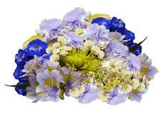 Ανθοδέσμη των μπλε-ιώδης-κίτρινος-άσπρων λουλουδιών σε ένα απομονωμένο άσπρο υπόβαθρο με το ψαλίδισμα της πορείας Καμία σκιά clos Στοκ Εικόνες