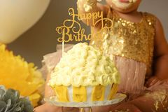 Ανθοδέσμη των chamomiles και ένα κέικ γενεθλίων για τα κορίτσια για 1 έτος Στοκ φωτογραφία με δικαίωμα ελεύθερης χρήσης