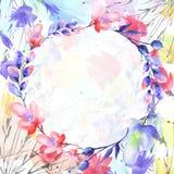 Ανθοδέσμη Watercolor των λουλουδιών, όμορφος αφηρημένος παφλασμός του χρώματος απεικόνιση αποθεμάτων