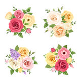 Ανθοδέσμες των ζωηρόχρωμων λουλουδιών Διανυσματικό σύνολο τεσσάρων απεικονίσεων Στοκ Εικόνες