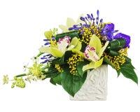 Ανθοδέσμη από τις ορχιδέες και το αραβικό λουλούδι αστεριών (arabi Ornithogalum Στοκ φωτογραφίες με δικαίωμα ελεύθερης χρήσης