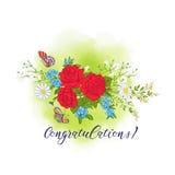 Ανθοδέσμη με τα τριαντάφυλλα και τις μαργαρίτες Στοκ Εικόνα