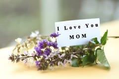 Ανθοδέσμη λουλουδιών με mom σ' αγαπώ το κείμενο στην κάρτα Στοκ Φωτογραφίες