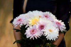 Ανθοδέσμη λουλουδιών στα χέρια Στοκ Εικόνα