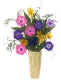 Ανθοδέσμη σε ένα βάζο των ξηρών λουλουδιών Στοκ Εικόνες