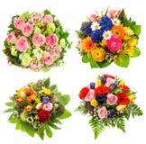 Ανθοδέσμη τεσσάρων ζωηρόχρωμη λουλουδιών στο λευκό