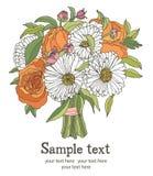 Ανθοδέσμη της κάρτας λουλουδιών Στοκ Εικόνες