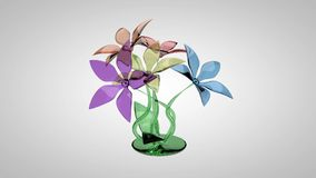 Ανθοδέσμη του ζωηρόχρωμου γυαλιού λουλουδιών απόθεμα βίντεο