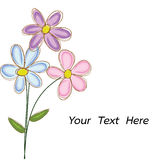 Ανθοδέσμη του διανύσματος λουλουδιών doodle με το διάστημα για το κείμενο Στοκ Εικόνες