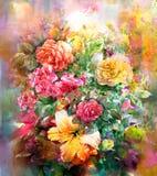 Ανθοδέσμη του πολύχρωμου ύφους ζωγραφικής watercolor λουλουδιών διανυσματική απεικόνιση