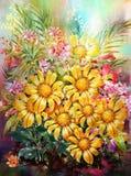 Ανθοδέσμη του πολύχρωμου ύφους ζωγραφικής watercolor λουλουδιών απεικόνιση αποθεμάτων
