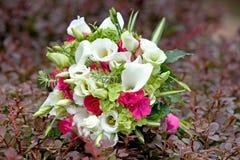 Ανθοδέσμη των ζωηρόχρωμων λουλουδιών στο φυσικό υπόβαθρο Στοκ Φωτογραφία