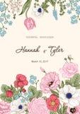 Ανθοδέσμη των λουλουδιών λεπτομερές ανασκόπηση floral διάνυσμα σχεδίων Στοκ Εικόνες