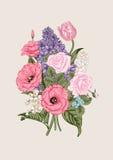 Ανθοδέσμη των λουλουδιών λεπτομερές ανασκόπηση floral διάνυσμα σχεδίων Στοκ Φωτογραφία