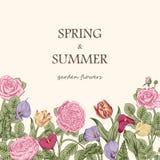 Ανθοδέσμη των λουλουδιών λεπτομερές ανασκόπηση floral διάνυσμα σχεδίων Στοκ φωτογραφίες με δικαίωμα ελεύθερης χρήσης