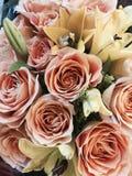Ανθοδέσμη των λουλουδιών ημέρας ή βαλεντίνων της μητέρας στο ροδάκινο και την κρέμα Στοκ Φωτογραφίες