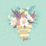 Ανθοδέσμη των λουλουδιών και της κορδέλλας Στοκ Εικόνες