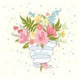 Ανθοδέσμη των λουλουδιών και της κορδέλλας Στοκ εικόνα με δικαίωμα ελεύθερης χρήσης