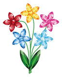 Ανθοδέσμη των λουλουδιών του απομονωμένου πολύτιμοι λίθοι διανύσματος αντικειμένου διανυσματική απεικόνιση