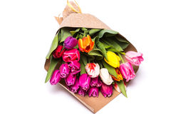 Ανθοδέσμη των λουλουδιών τουλιπών άνοιξη που τυλίγονται στο έγγραφο Στοκ Εικόνα