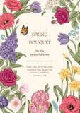 Ανθοδέσμη των λουλουδιών floral σειρά πλαισίων πλαισίων Στοκ Φωτογραφίες