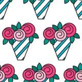 Ανθοδέσμη των τριαντάφυλλων Άνευ ραφής σχέδιο με τα λουλούδια στο άσπρο υπόβαθρο Στοκ εικόνες με δικαίωμα ελεύθερης χρήσης