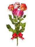 Ανθοδέσμη των τριαντάφυλλων με το κόκκινο τόξο 10 eps Στοκ εικόνα με δικαίωμα ελεύθερης χρήσης