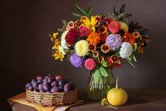 Ανθοδέσμη φθινοπώρου των λουλουδιών, της κολοκύθας και των δαμάσκηνων κήπων Στοκ Εικόνα