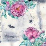 Ανθοδέσμη Watercolor peonies πέρα από το όμορφο υπόβαθρο απεικόνιση αποθεμάτων