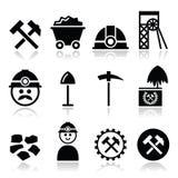 Ανθρακωρυχείο, εικονίδια ανθρακωρύχων καθορισμένα Στοκ φωτογραφία με δικαίωμα ελεύθερης χρήσης