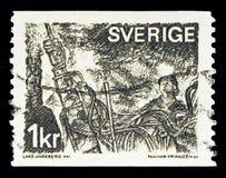 Ανθρακωρύχοι στο μέτωπο εξόρυξης, σουηδικό Εμπόριο και Βιομηχανία serie, circa 197 Στοκ Εικόνα