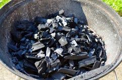 Ανθρακόπλινθοι ξυλάνθρακα που βάζουν φωτιά επάνω για τη σχάρα Στοκ Φωτογραφίες