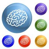 Ανθρώπινα εικονίδια εγκεφάλου καθορισμένα διανυσματικά διανυσματική απεικόνιση