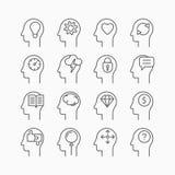 Ανθρώπινα εικονίδια μυαλού, λεπτό ύφος γραμμών, επίπεδο σχέδιο Στοκ Εικόνες