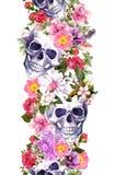 Ανθρώπινα κρανία με τα λουλούδια σύνορα άνευ ραφής Πλαίσιο Watercolor Στοκ φωτογραφίες με δικαίωμα ελεύθερης χρήσης