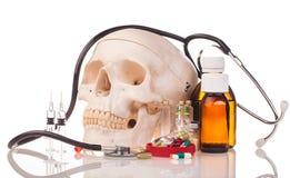 Ανθρώπινα φάρμακα και φάρμακα scull Στοκ Εικόνα