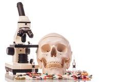 Ανθρώπινα φάρμακα και φάρμακα scull Στοκ φωτογραφία με δικαίωμα ελεύθερης χρήσης