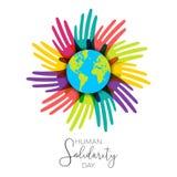Ανθρώπινα χέρια ημέρας αλληλεγγύης του διαφορετικού κόσμου απεικόνιση αποθεμάτων