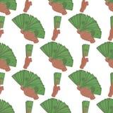 Ανθρώπινα χέρια που κρατούν χρημάτων το διανυσματικό απεικόνισης επιχειρηματιών οικονομικό υποβάθρου άνευ ραφής μέλος του σώματος Στοκ φωτογραφία με δικαίωμα ελεύθερης χρήσης