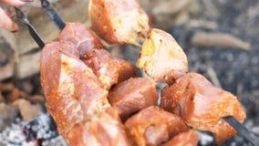 Ανθρώπινα χέρια που περιστρέφονται τα οβελίδια Shish kebab απόθεμα βίντεο