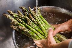 Ανθρώπινα χέρια που πλένουν το σπαράγγι Στοκ Φωτογραφίες
