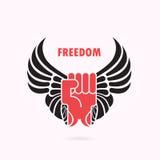 Ανθρώπινα χέρι και φτερά Κόκκινο εικονίδιο πυγμών και φτερών Εικονίδιο δύναμης Δύναμη και διανυσματική απεικόνιση