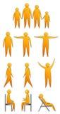 Ανθρώπινες σκιαγραφίες που κάνουν τις κινήσεις και που κάθονται Στοκ Φωτογραφίες