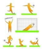 Ανθρώπινες σκιαγραφίες ποδοσφαίρου και ποδοσφαίρου Στοκ εικόνα με δικαίωμα ελεύθερης χρήσης