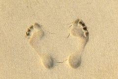 ανθρώπινη άμμος ιχνών παραλιών Στοκ εικόνα με δικαίωμα ελεύθερης χρήσης