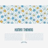 Ανθρώπινη έννοια σκέψης με τα λεπτά εικονίδια γραμμών διανυσματική απεικόνιση